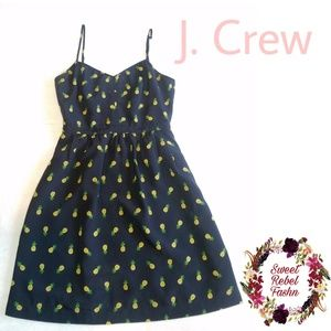 J. Crew navy pineapple dress with pockets size 0